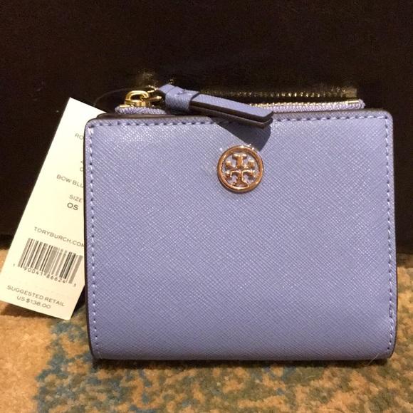 eab73e351 Tory Burch Bags | Robinson Mini Wallet Bow Blue Leather | Poshmark